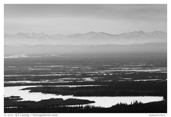 Alaska range rising above plain. Alaska, USA (black and white)