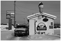 Drive through coffee shop. Fairbanks, Alaska, USA ( black and white)