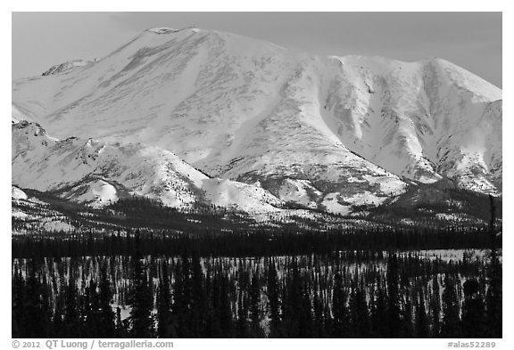 Mountains in winter. Alaska, USA (black and white)
