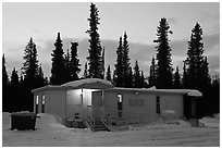 Post office at dusk, Cantwell. Alaska, USA ( black and white)