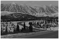 George Parks Highway at dusk. Alaska, USA (black and white)