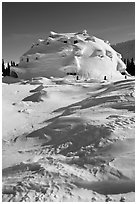 Igloo-shaped building covered with snow. Alaska, USA (black and white)