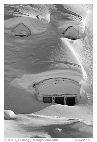 Windows on snow-covered roof. Alaska, USA (black and white)