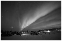 Viewing the Northern Lights at Cleary Summit. Alaska, USA ( black and white)