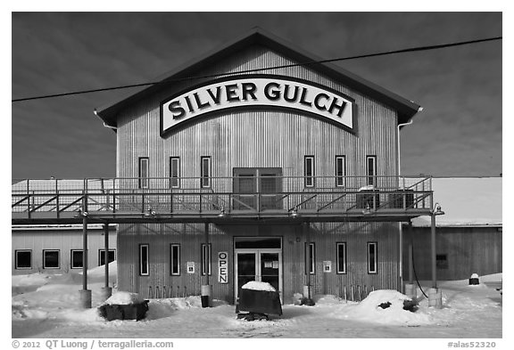 Silver Gulch, northernmost brewery. Fairbanks, Alaska, USA (black and white)