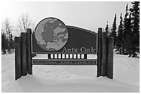 Arctic Circle marker, Dalton Highway. Alaska, USA (black and white)