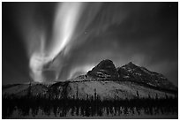 Multicolored Northern Lights above Mount Sukakpak. Alaska, USA ( black and white)