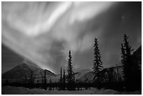 Aurora Borealis above Brooks Range in winter. Alaska, USA ( black and white)