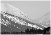 Brooks range mountains in winter. Alaska, USA (black and white)