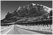 Dalton Highway and Mount Sukakpak. Alaska, USA (black and white)