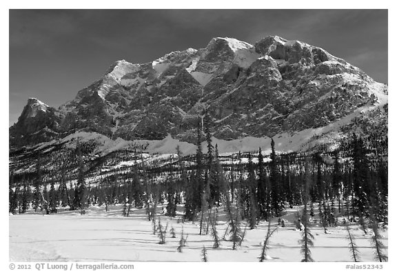 Mount Sukakpak in winter. Alaska, USA (black and white)