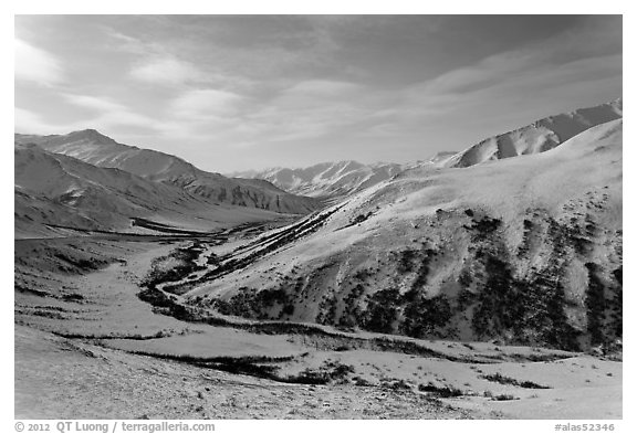 View down from Atigun Pass. Alaska, USA (black and white)
