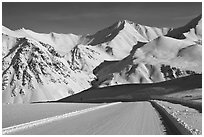 Frozen Dalton Highway, Atigun Pass. Alaska, USA ( black and white)