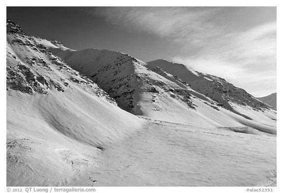 Arctic Mountains near continental divide. Alaska, USA (black and white)