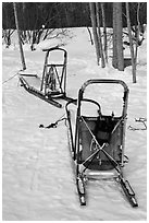 Sleds used for dog mushing. Wiseman, Alaska, USA (black and white)