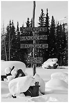 Signs in winter. Wiseman, Alaska, USA ( black and white)