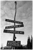 Welcome sign. Wiseman, Alaska, USA (black and white)