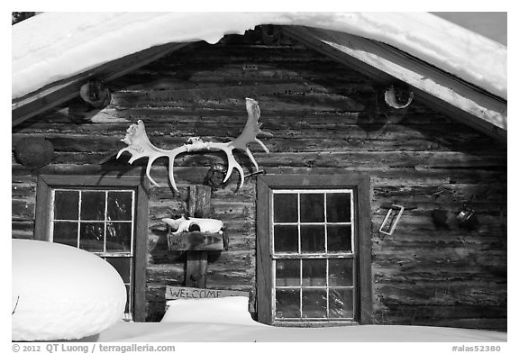 Log cabin facade with antlers. Wiseman, Alaska, USA (black and white)