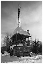 Energy-generating tower. Wiseman, Alaska, USA ( black and white)