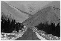 Dalton highway and mountains. Alaska, USA (black and white)