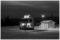 Drive-in coffee-shop night. Fairbanks, Alaska, USA ( black and white)