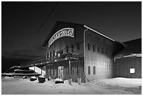 Silver Gulch brewery, winter night. Fairbanks, Alaska, USA ( black and white)