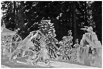 Multiblock Ice scultpures, Ice Alaska. Fairbanks, Alaska, USA ( black and white)