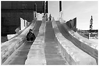 Kids park slides, Ice Alaska. Fairbanks, Alaska, USA ( black and white)