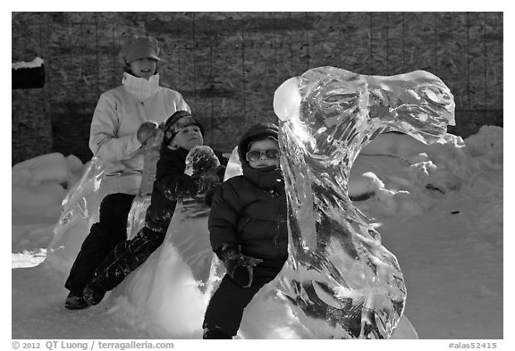 Family riding camel carved out of ice. Fairbanks, Alaska, USA (black and white)