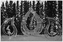 Multiblock Ice scultpures, World Ice Art Championships. Fairbanks, Alaska, USA ( black and white)