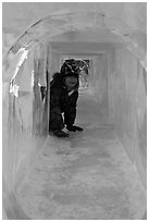 Girl inside ice tunnel, Ice Alaska. Fairbanks, Alaska, USA ( black and white)