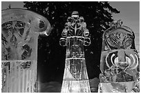 Illuminated ice sculptures, 2012 World Ice Art Championships. Fairbanks, Alaska, USA (black and white)