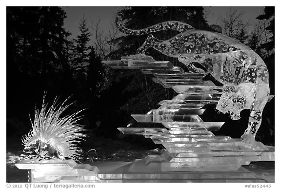 Prize winning multiblock ice sculpture at night, 2012 Ice Alaska. Fairbanks, Alaska, USA (black and white)