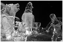 Multicolored Ice sculptures at night, George Horner Ice Park. Fairbanks, Alaska, USA (black and white)