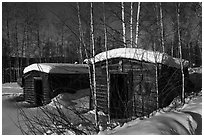 Cabins with gold dredging equipment, Chatanika. Alaska, USA (black and white)