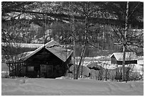 Mining camp in winter, Chatanika. Alaska, USA (black and white)