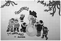 Greetings on mural. North Pole, Alaska, USA (black and white)