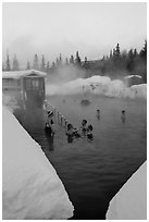Natural hot springs in winter. Chena Hot Springs, Alaska, USA (black and white)
