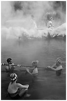 People with frozen hair relaxing in hot springs. Chena Hot Springs, Alaska, USA ( black and white)