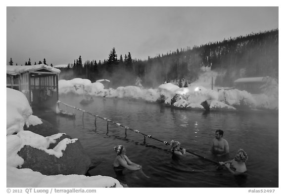 Rock Lake natural pool in winter. Chena Hot Springs, Alaska, USA