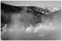 Pool, steam, and resort in winter. Chena Hot Springs, Alaska, USA (black and white)