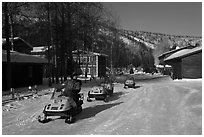 Snowmobiles and resort. Chena Hot Springs, Alaska, USA ( black and white)