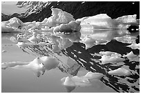 Icebergs and mountain reflections, Portage Lake. Alaska, USA (black and white)