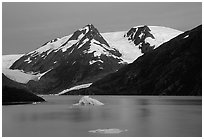 Icebergs in Portage Lake at dusk. Alaska, USA ( black and white)