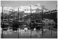 Whittier harbor. Whittier, Alaska, USA ( black and white)