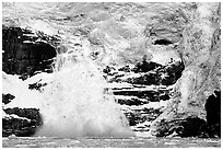 Surprise glacier calving into the sea. Prince William Sound, Alaska, USA (black and white)