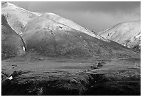 Mountains with early autumn snow. Alaska, USA ( black and white)