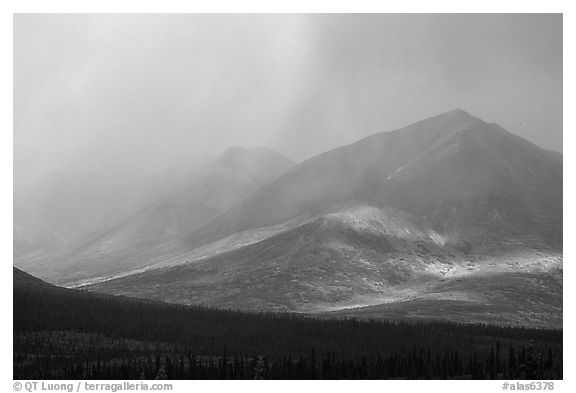 Storm on mountains. Alaska, USA (black and white)