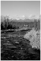 River and cabin, Denali Highway. Alaska, USA ( black and white)