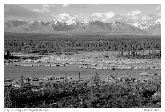 Kettle Lakes, tundra, and mountains. Alaska, USA (black and white)